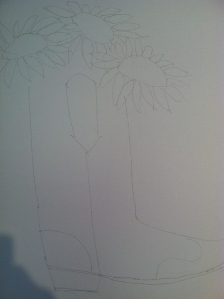 Our Canvas with the pencil drawing...it was just like Coloring....sorta