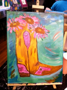Ta-Da!  My pink and brown boot with Pink Sunflowers and GLITTER!!!